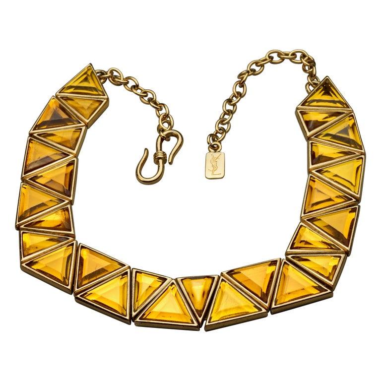 Vintage YVES SAINT LAURENT Ysl Geometric Resin Necklace by Robert Goossens For Sale