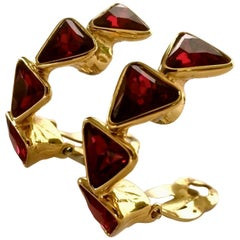 Vintage YVES SAINT LAURENT Ysl Geometric Ruby Rhinestone Earrings