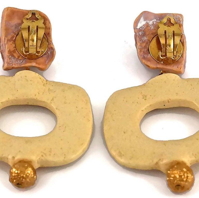 Vintage YVES SAINT LAURENT Ysl Geometric Textured Stone Resin Earrings For Sale 6