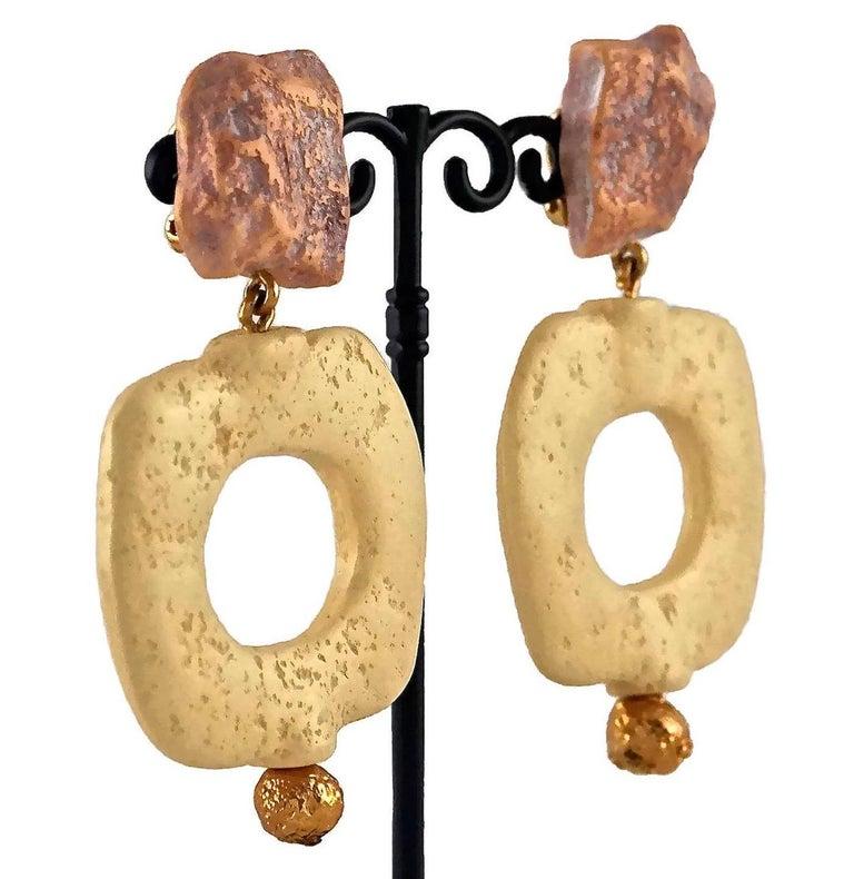 Women's Vintage YVES SAINT LAURENT Ysl Geometric Textured Stone Resin Earrings For Sale