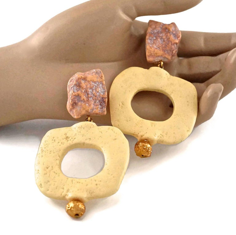 Vintage YVES SAINT LAURENT Ysl Geometric Textured Stone Resin Earrings For Sale 1