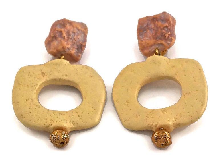 Vintage YVES SAINT LAURENT Ysl Geometric Textured Stone Resin Earrings For Sale 2