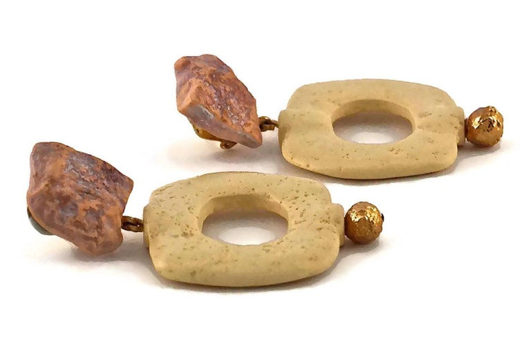 Vintage YVES SAINT LAURENT Ysl Geometric Textured Stone Resin Earrings For Sale 4