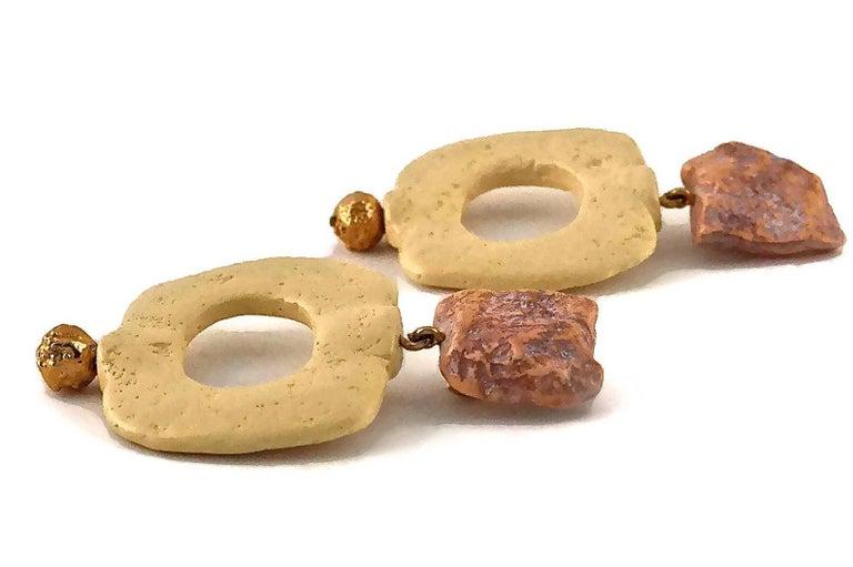 Vintage YVES SAINT LAURENT Ysl Geometric Textured Stone Resin Earrings For Sale 5