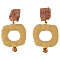 Vintage YVES SAINT LAURENT Ysl Geometric Textured Stone Resin Earrings