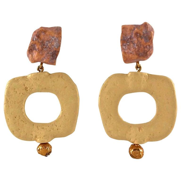 Vintage YVES SAINT LAURENT Ysl Geometric Textured Stone Resin Earrings For Sale