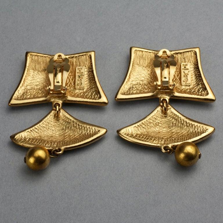 Vintage YVES SAINT LAURENT Ysl Geometric Tiered Earrings For Sale 6