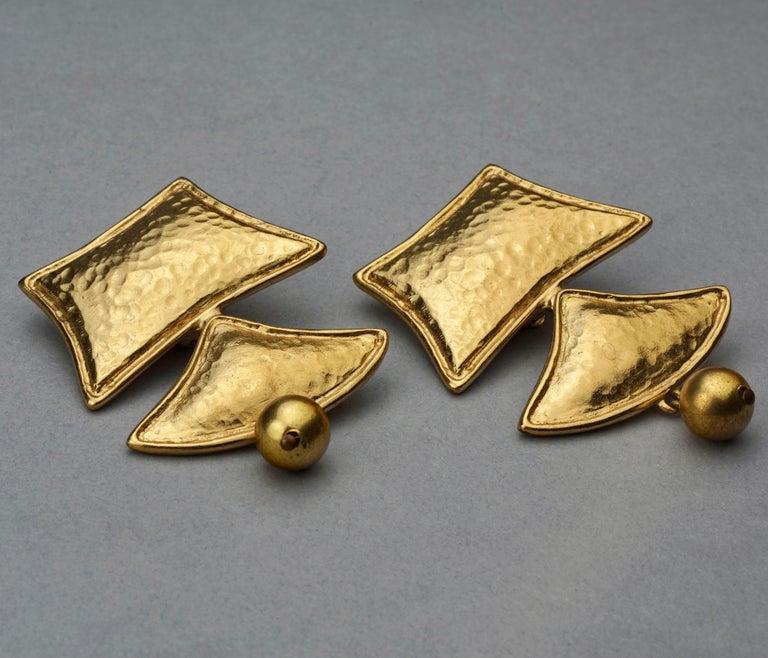 Women's Vintage YVES SAINT LAURENT Ysl Geometric Tiered Earrings For Sale