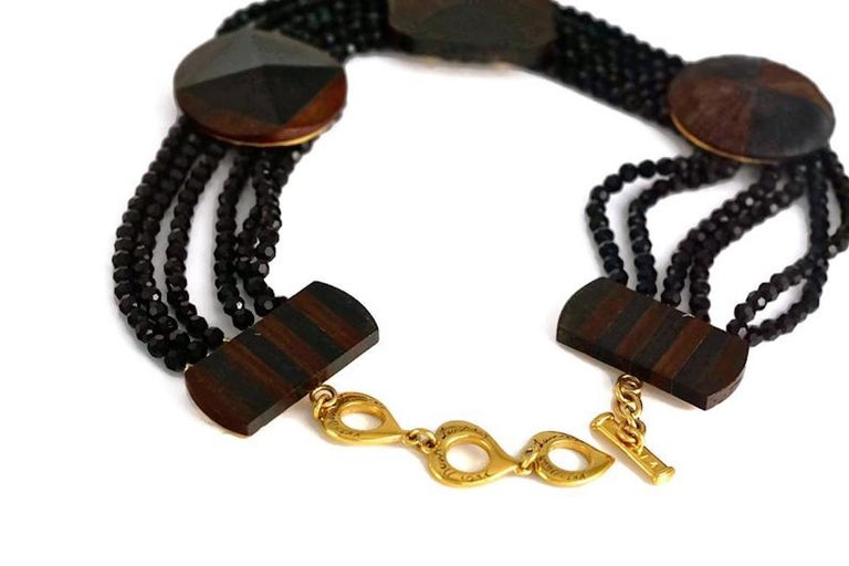 Women's Vintage YVES SAINT LAURENT Ysl Geometric Wood Marquetry Multi Layer Bead Necklac For Sale