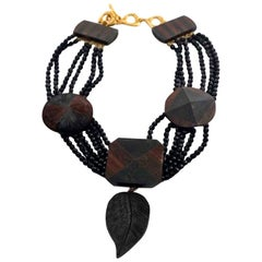 Vintage YVES SAINT LAURENT Ysl Geometric Wood Marquetry Multi Layer Bead Necklac