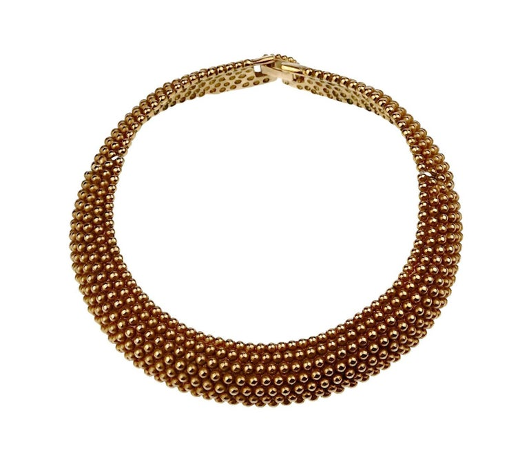 Vintage YVES SAINT LAURENT Ysl Gilt Ball Choker Necklace In Good Condition For Sale In Kingersheim, Alsace