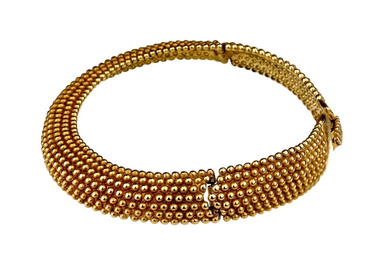 Women's Vintage YVES SAINT LAURENT Ysl Gilt Ball Choker Necklace For Sale