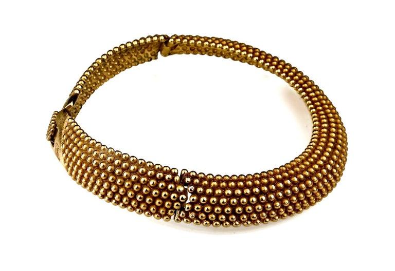 Vintage YVES SAINT LAURENT Ysl Gilt Ball Choker Necklace For Sale 1