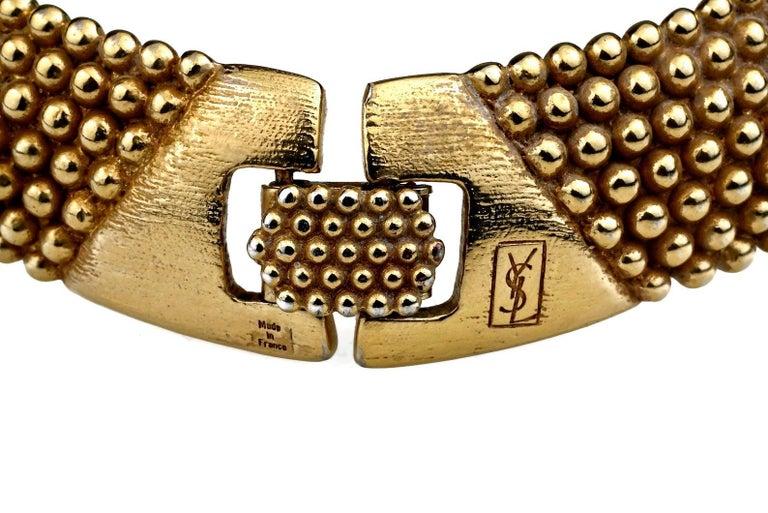 Vintage YVES SAINT LAURENT Ysl Gilt Ball Choker Necklace For Sale 3