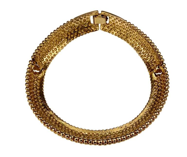 Vintage YVES SAINT LAURENT Ysl Gilt Ball Choker Necklace For Sale 4