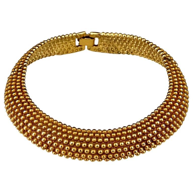 Vintage YVES SAINT LAURENT Ysl Gilt Ball Choker Necklace For Sale