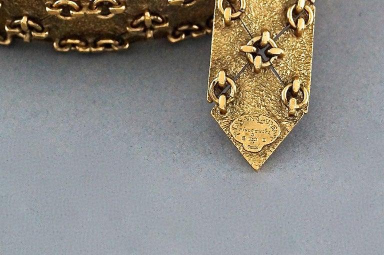 Vintage YVES SAINT LAURENT Ysl Gilt Harlequin Pattern Necktie Textured Belt  For Sale 6