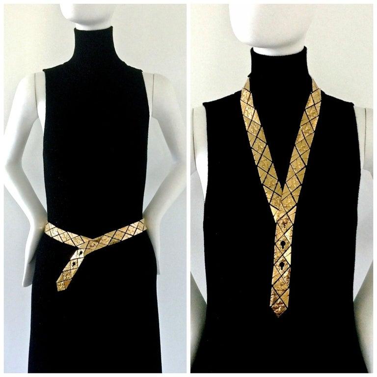 Vintage YVES SAINT LAURENT Ysl Gilt Harlequin Pattern Necktie Snake Textured Necklace Belt  Measurements: Height: 1.10 inches (2.8 cm) Wearable Length: 29.13 inches (74 cm), 30.31 inches (77 cm) and 31.88 inches (81 cm) Total Length: 35.03 inches
