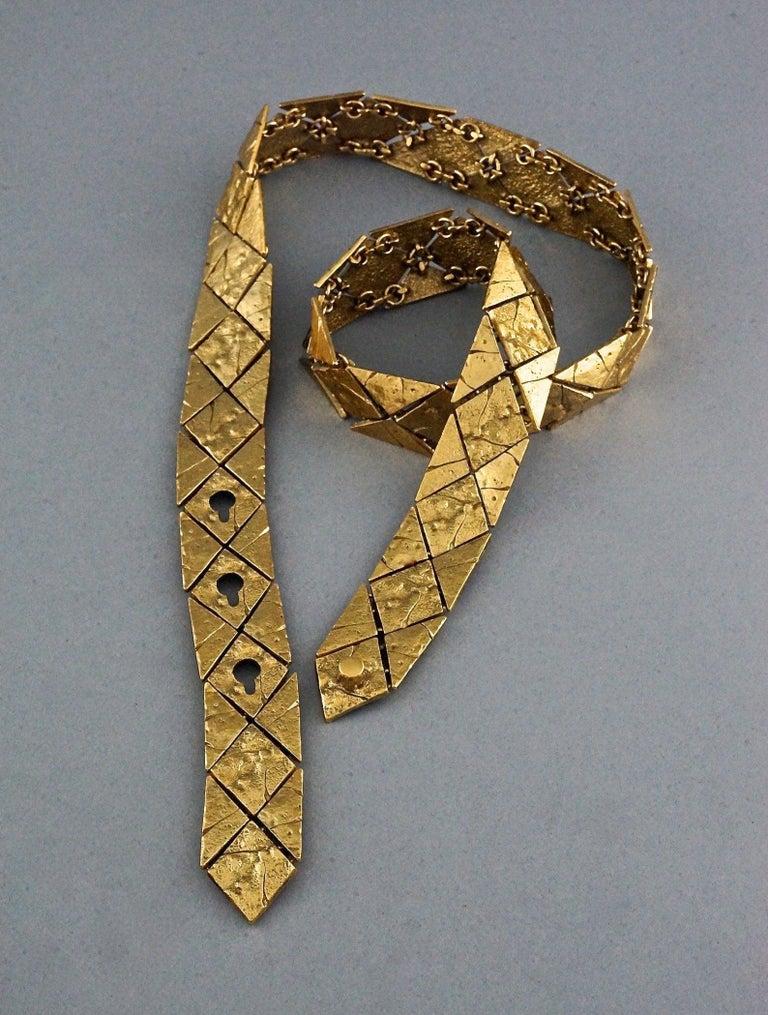 Vintage YVES SAINT LAURENT Ysl Gilt Harlequin Pattern Necktie Textured Belt  For Sale 1