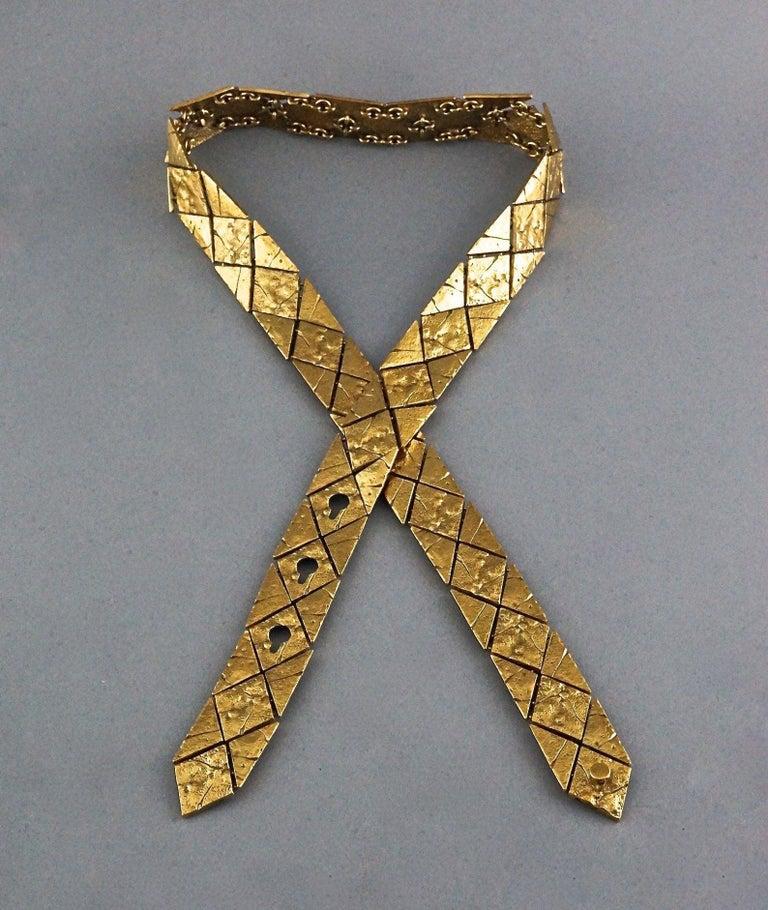 Vintage YVES SAINT LAURENT Ysl Gilt Harlequin Pattern Necktie Textured Belt  For Sale 2
