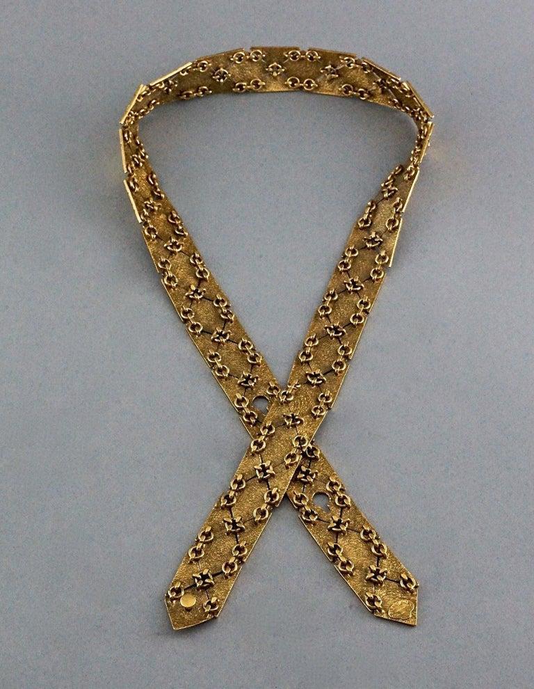 Vintage YVES SAINT LAURENT Ysl Gilt Harlequin Pattern Necktie Textured Belt  For Sale 5