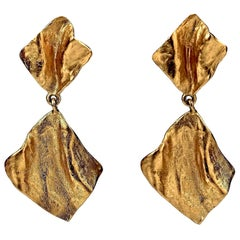 Vintage YVES SAINT LAURENT Ysl Gilt Wrinkled Dangling Earrings