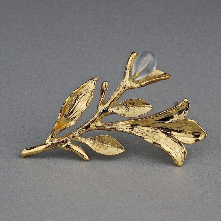 Women's or Men's Vintage YVES SAINT LAURENT Ysl Glass Flower Stem Brooch For Sale