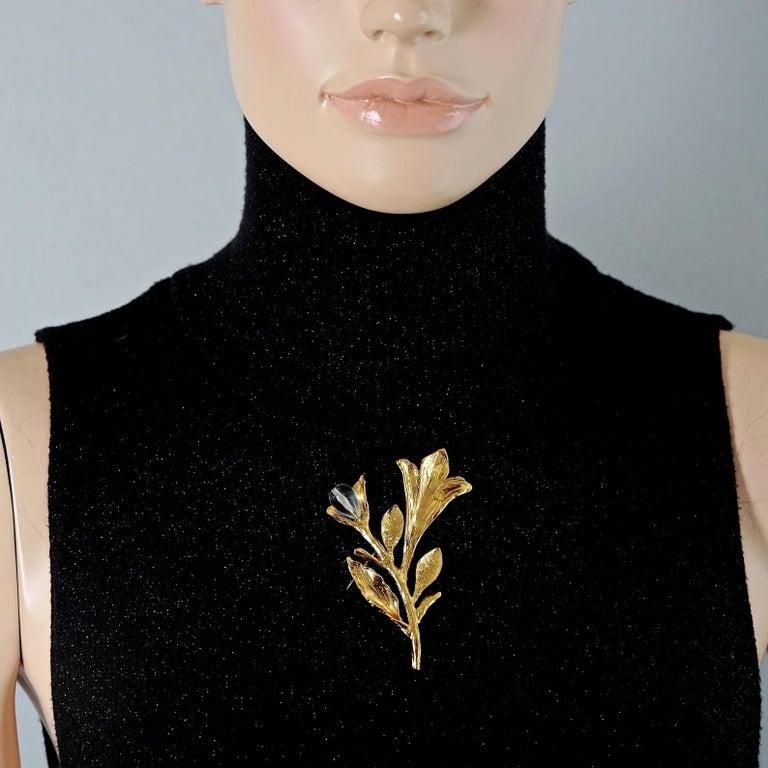 Vintage YVES SAINT LAURENT Ysl Glass Flower Stem Brooch For Sale 3