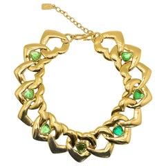 Vintage Yves Saint Laurent YSL Gold Heart Statement Collar 1980s