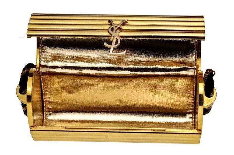 Vintage YVES SAINT LAURENT Ysl Gold Metal Minaudiere Tassel Shoulder Bag For Sale 6