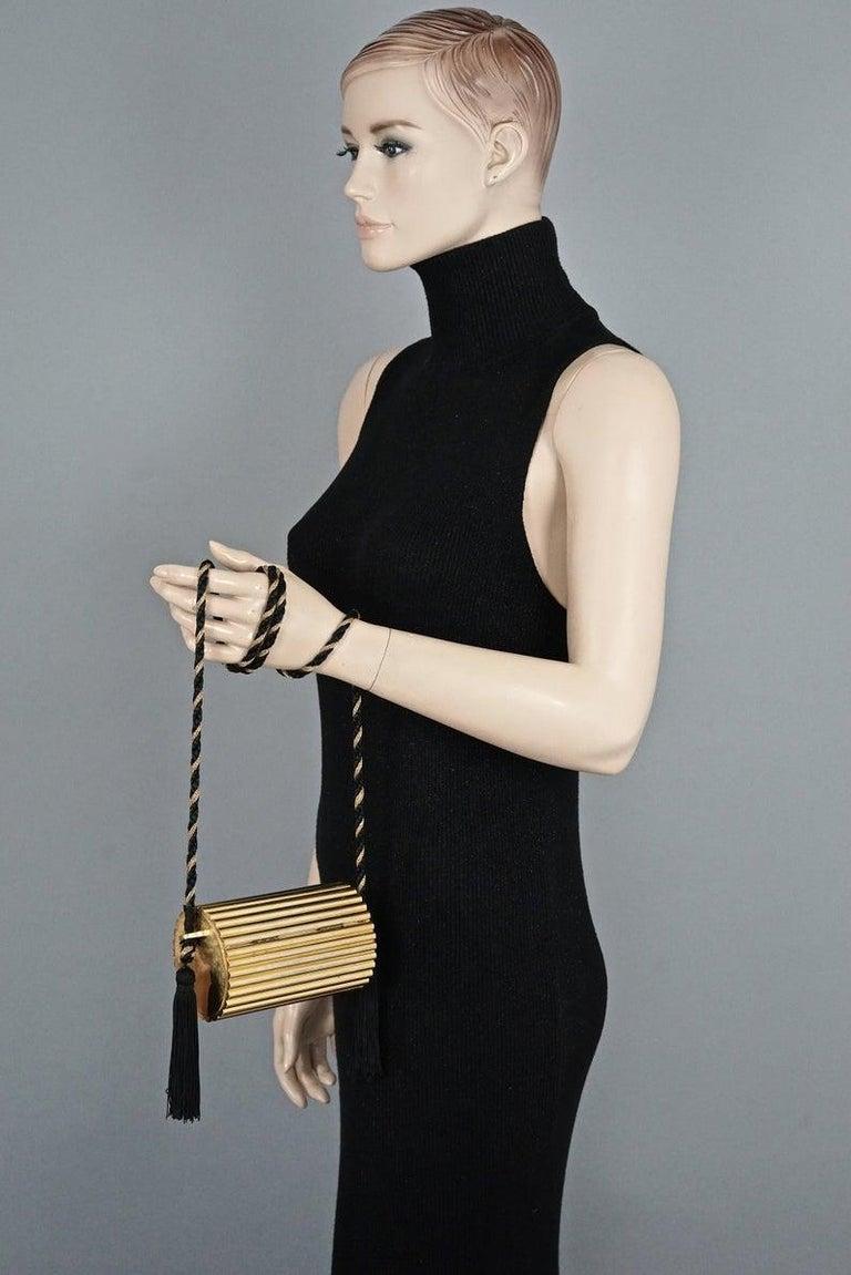 Women's Vintage YVES SAINT LAURENT Ysl Gold Metal Minaudiere Tassel Shoulder Bag For Sale