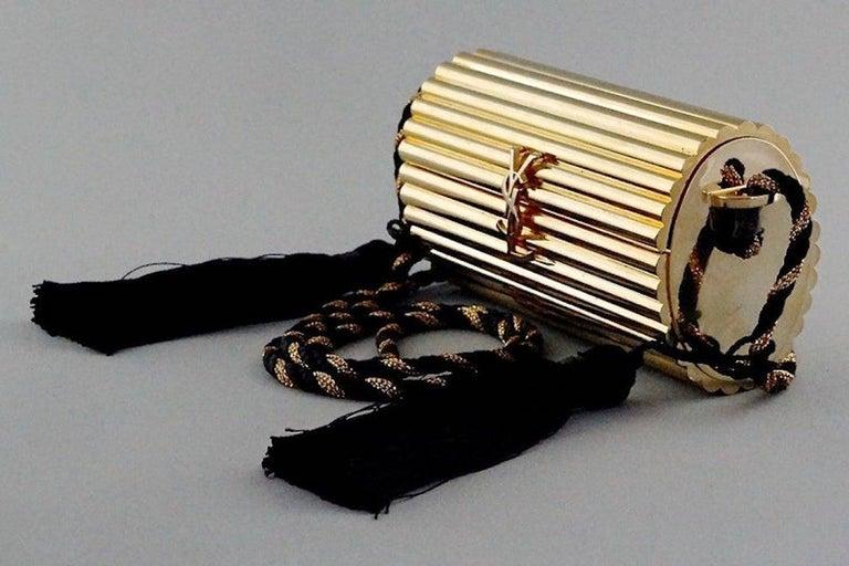 Vintage YVES SAINT LAURENT Ysl Gold Metal Minaudiere Tassel Shoulder Bag For Sale 1