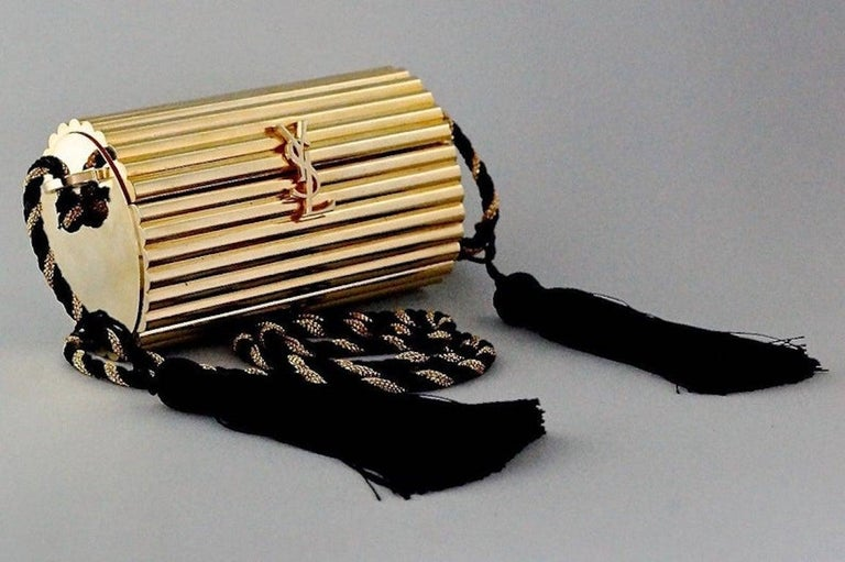 Vintage YVES SAINT LAURENT Ysl Gold Metal Minaudiere Tassel Shoulder Bag For Sale 2