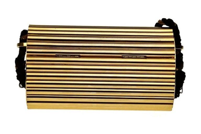 Vintage YVES SAINT LAURENT Ysl Gold Metal Minaudiere Tassel Shoulder Bag For Sale 3