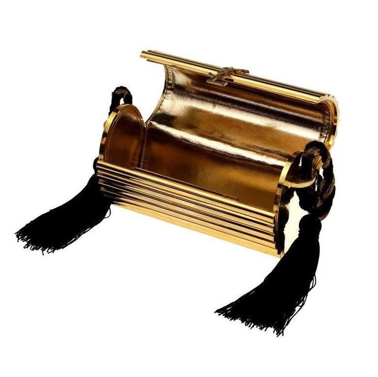Vintage YVES SAINT LAURENT Ysl Gold Metal Minaudiere Tassel Shoulder Bag For Sale 5
