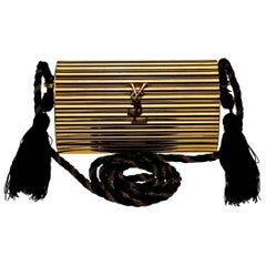 Vintage YVES SAINT LAURENT Ysl Gold Metal Minaudiere Tassel Shoulder Bag