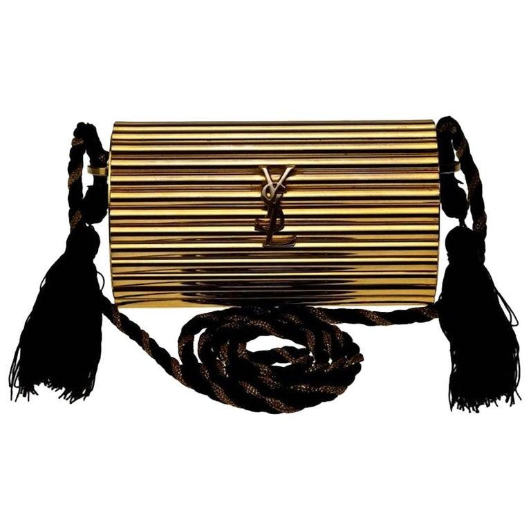 Vintage YVES SAINT LAURENT Ysl Gold Metal Minaudiere Tassel Shoulder Bag For Sale