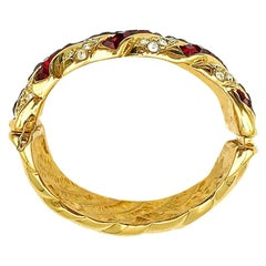 Vintage Yves Saint Laurent YSL Gold Ruby Crystal Cuff 1980s
