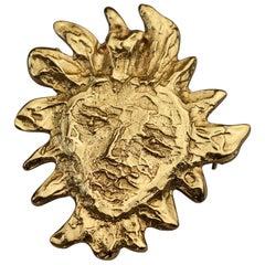 Vintage YVES SAINT LAURENT Ysl Goossens Sun Face Pendant Brooch