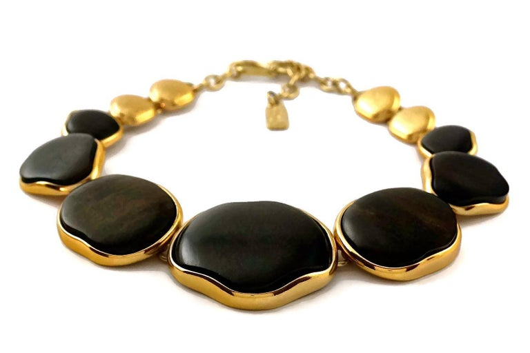Vintage YVES SAINT LAURENT Ysl Graduated Wood Choker Necklace For Sale 1