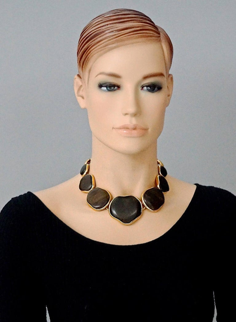 Vintage YVES SAINT LAURENT Ysl Graduated Wood Choker Necklace For Sale 3