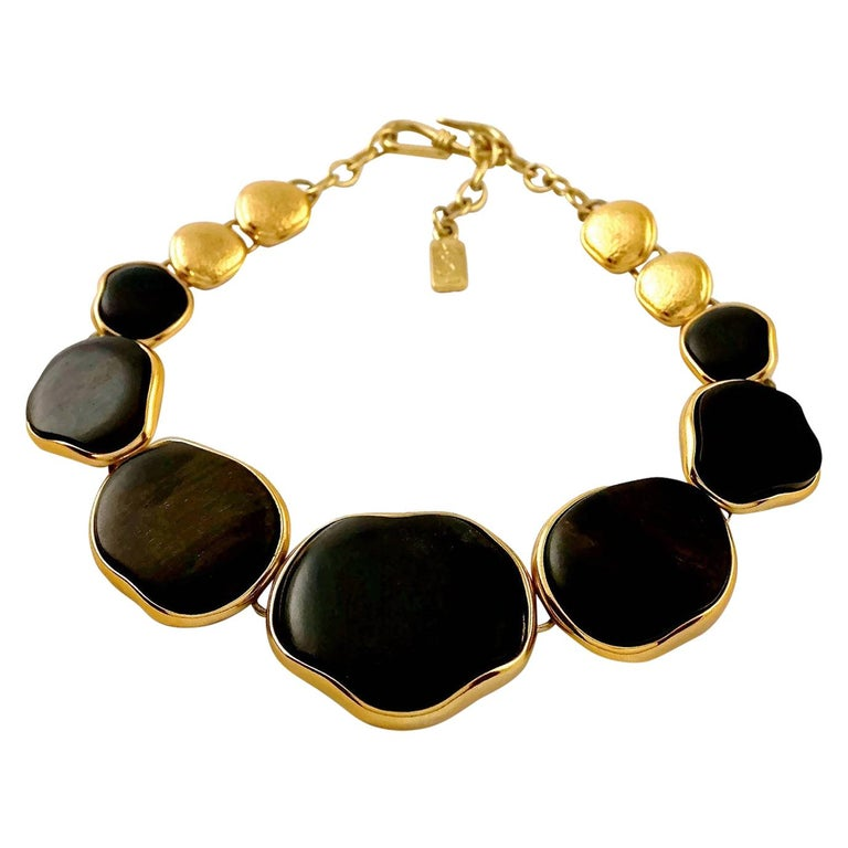 Vintage YVES SAINT LAURENT Ysl Graduated Wood Choker Necklace For Sale