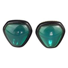 Vintage YVES SAINT LAURENT Ysl Green Cabochon Black Enamel Earrings
