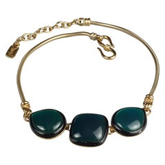 Vintage YVES SAINT LAURENT Ysl Green Cabochon Black Enamel Snake Chain Necklace