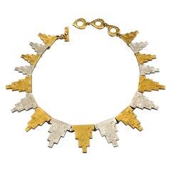 Vintage YVES SAINT LAURENT Ysl Hammered Geometric Sunburst Two Tone Necklace