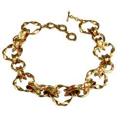 Vintage YVES SAINT LAURENT Ysl Harlequin Enamel Twisted Hoop Link Necklace