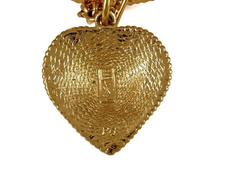 Vintage YVES SAINT LAURENT Ysl Heart Charm Stack Bangles Cuff Bracelet For Sale 6