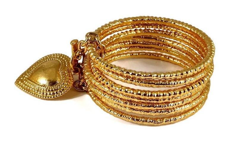 Women's Vintage YVES SAINT LAURENT Ysl Heart Charm Stack Bangles Cuff Bracelet For Sale
