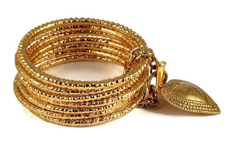 Vintage YVES SAINT LAURENT Ysl Heart Charm Stack Bangles Cuff Bracelet For Sale 1