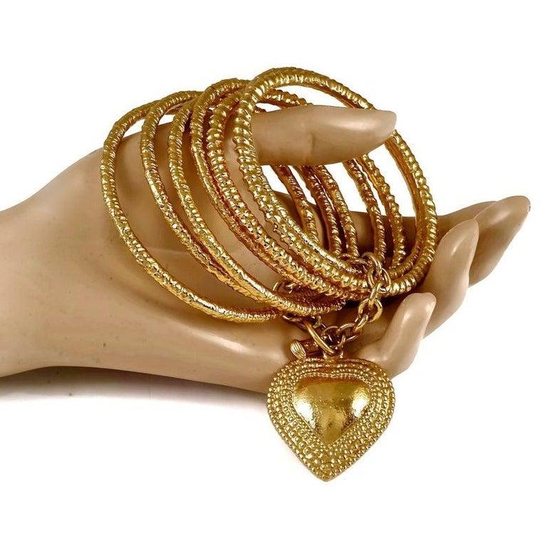 Vintage YVES SAINT LAURENT Ysl Heart Charm Stack Bangles Cuff Bracelet For Sale 3